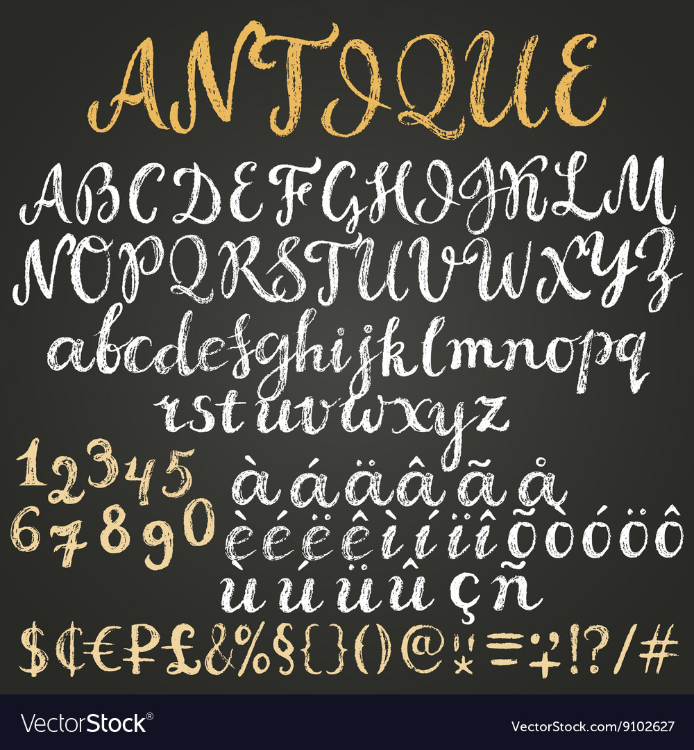 Chalk script latin alphabet vector