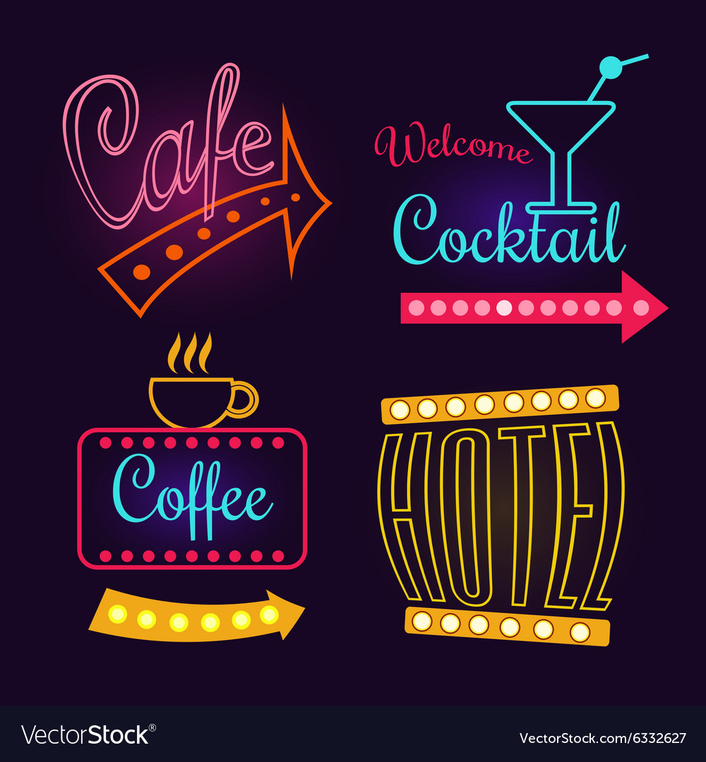 Neon signs of cafe hotel and cocktail isolated vector