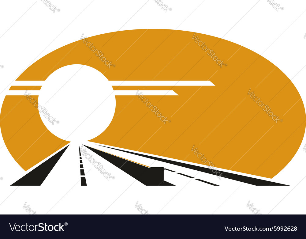 Icon of highway with golden sunset sky vector
