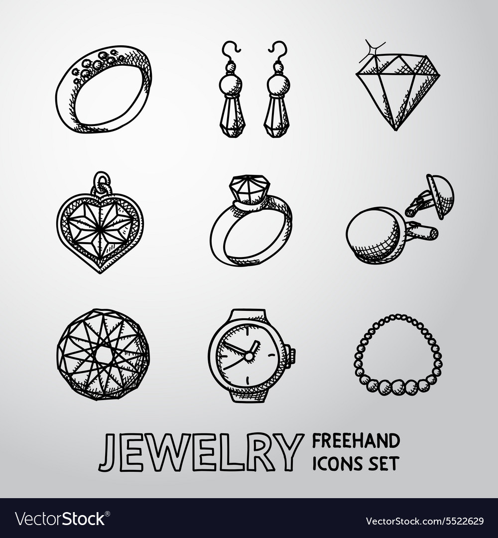 Jewelry monochrome freehand icons set with  rings vector