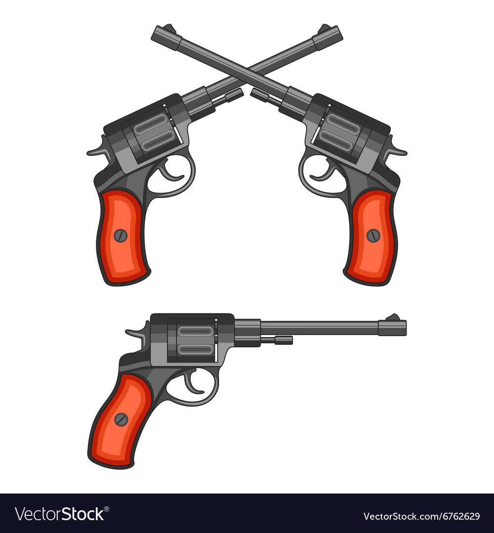 Revolvers on white background vector