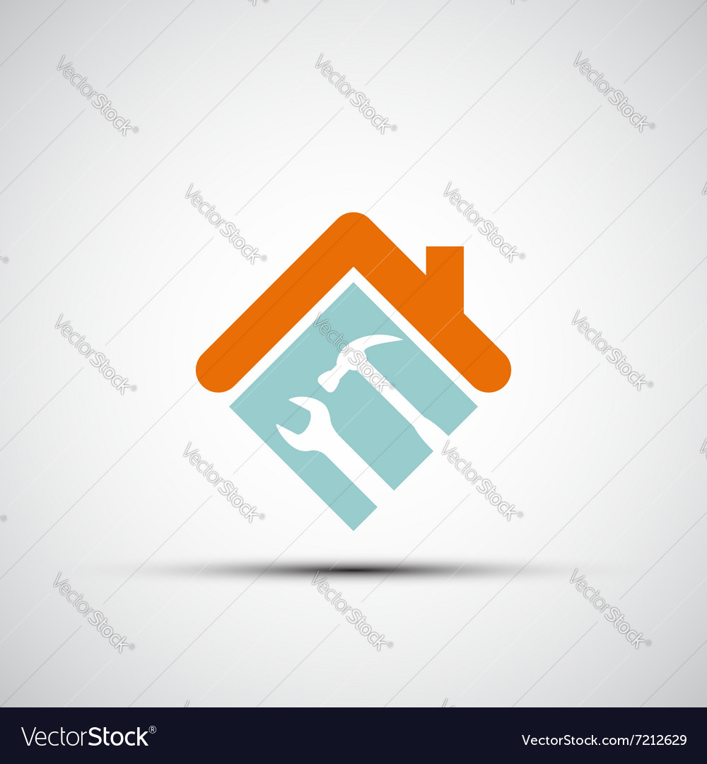 Silhouette of a house with a wrench and a hammer vector