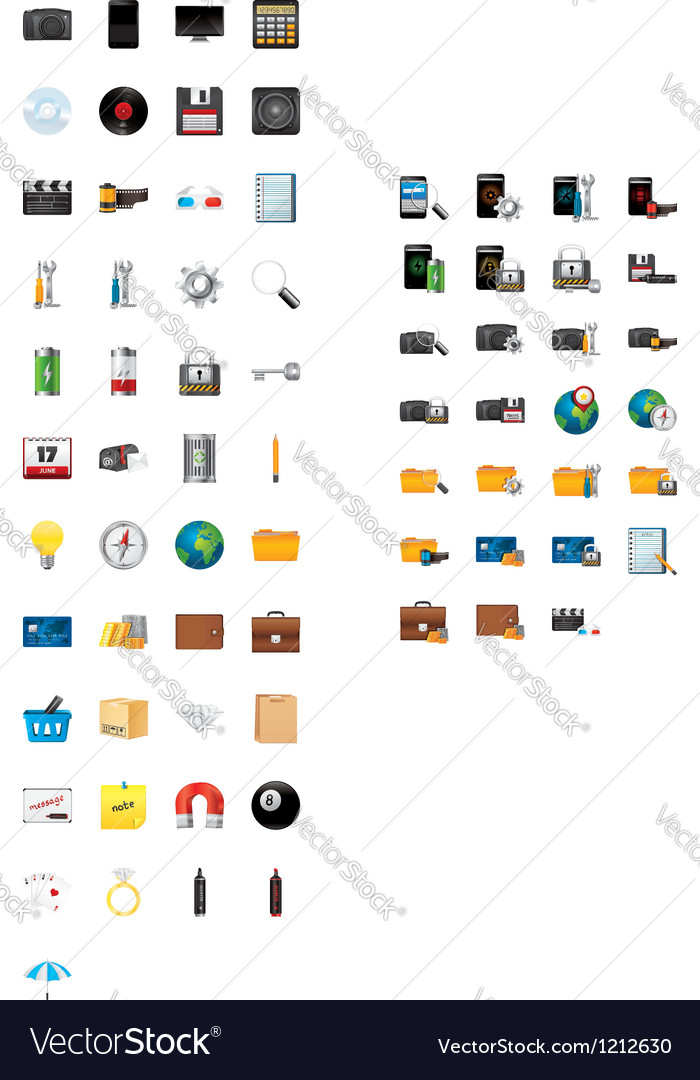 72 realistic 3d icons vector