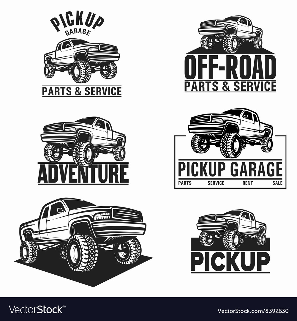 Car truck 4x4 pickup offroad logo vector