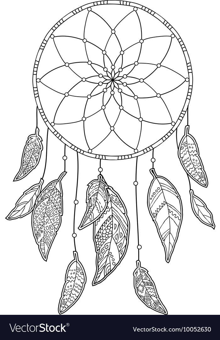 Hand drawn monochrome dreamcatcher isolated on vector