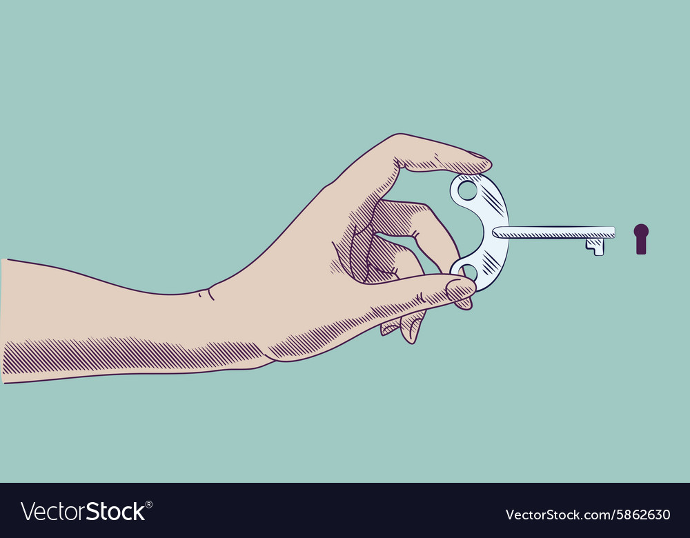 Hand holding key at keyhole concept in retro vector