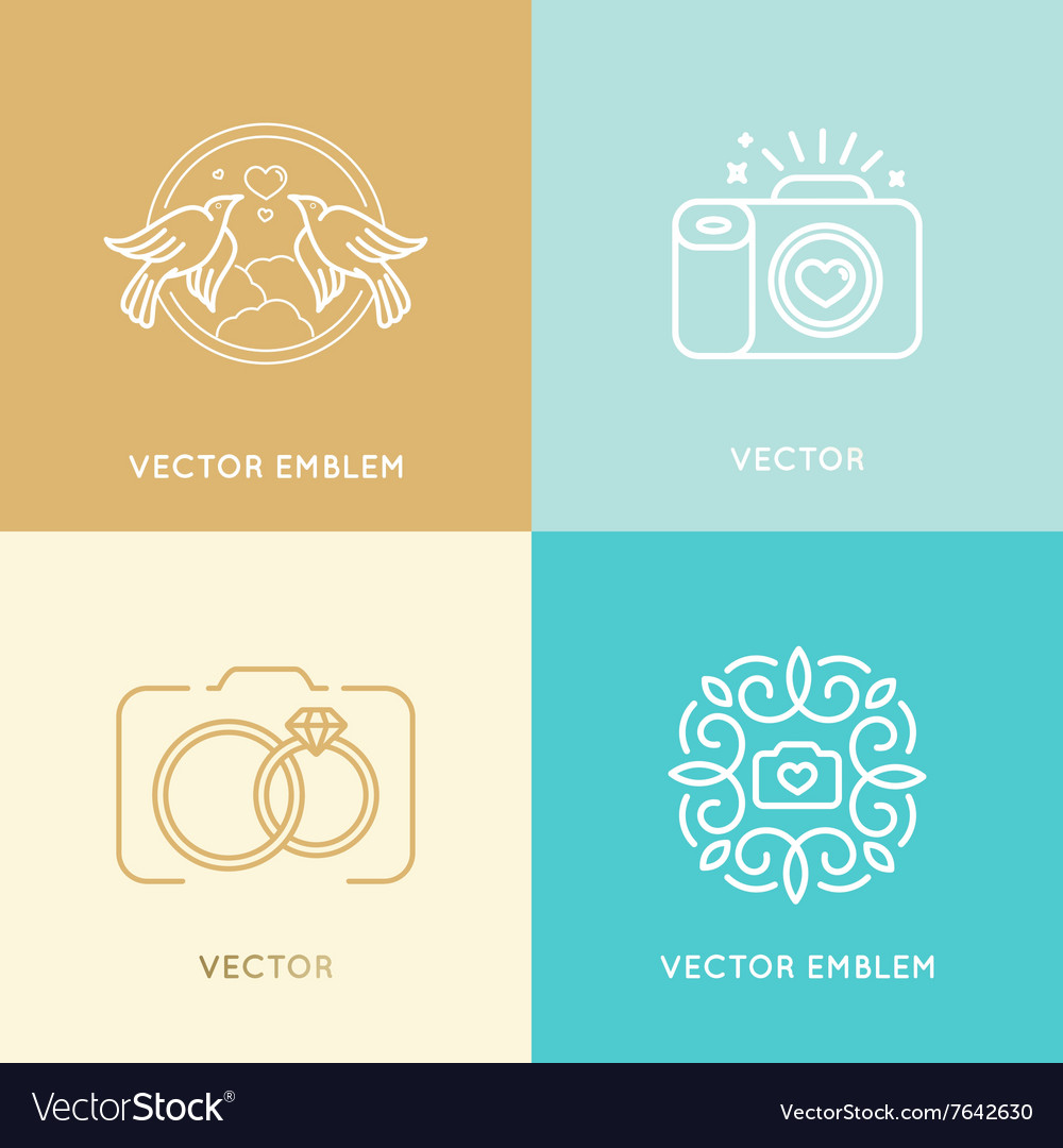 Set of wedding photography logo design templates vector