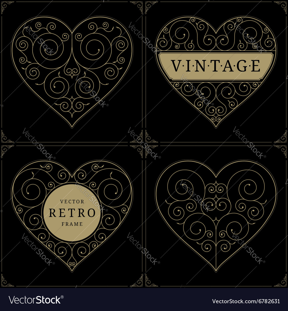 Heart vintage luxury logo template set vector