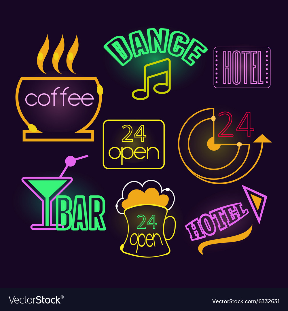Neon signs of cafe hotel and bar isolated vector