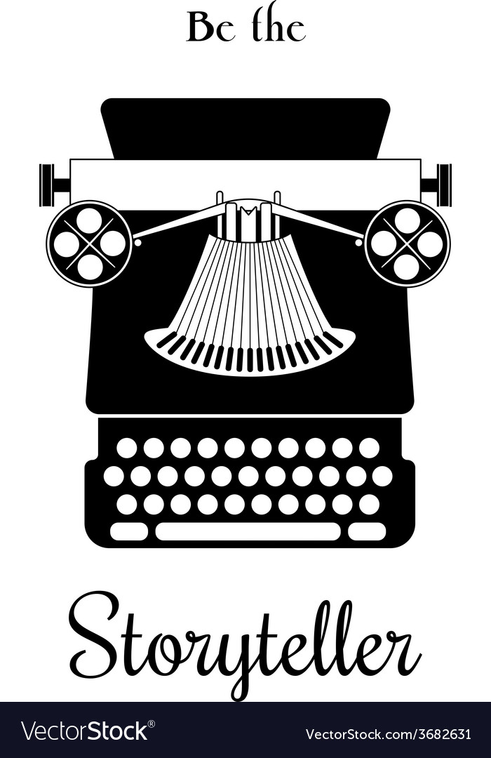 Typewriter card  be the storyteller vector