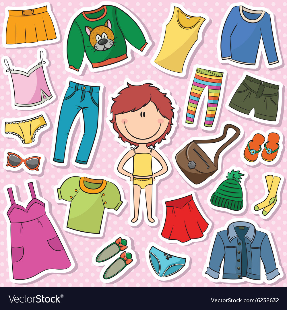 Casual clothes for girls vector