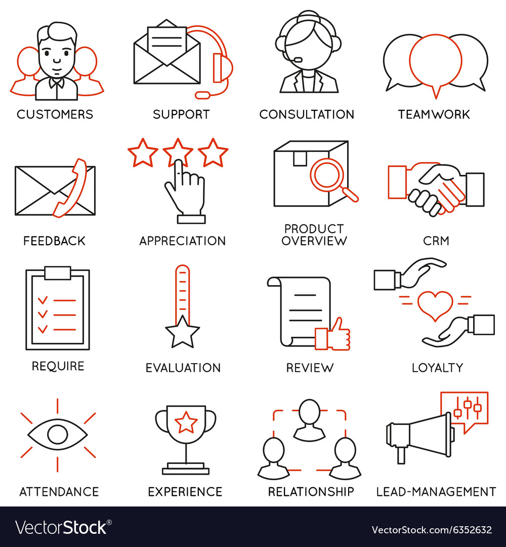 Set of icons related to business management  13 vector