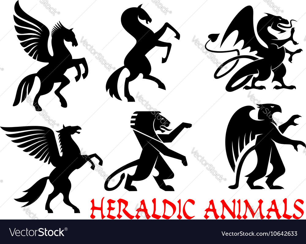 Heraldic mythical animals silhouette emblems vector