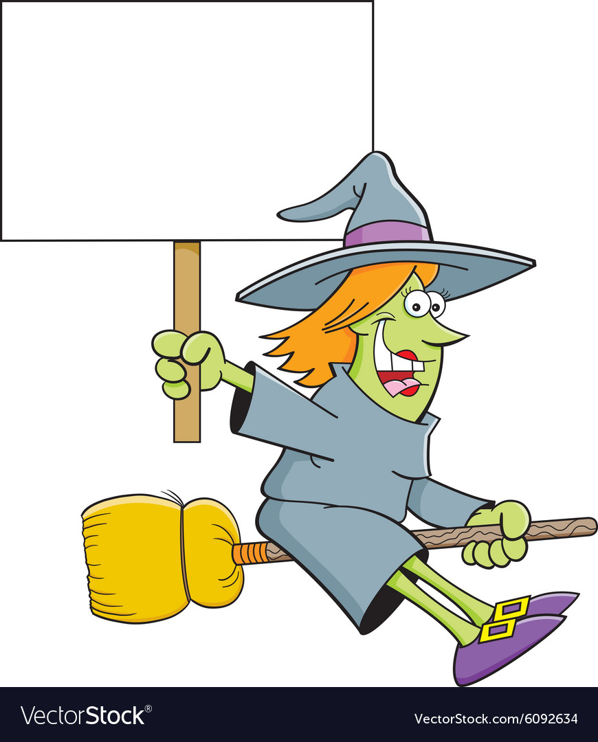 Cartoon witch holding a sign while riding a broom vector
