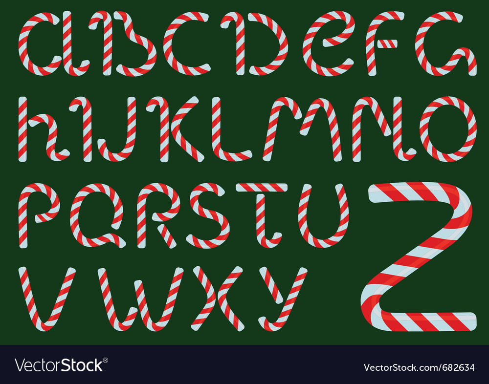 Christmas candles alphabet vector