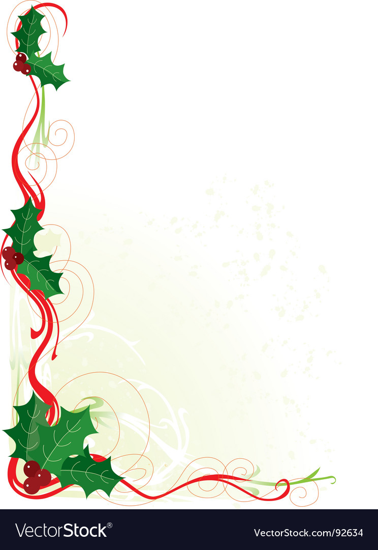 Christmas holly border vector