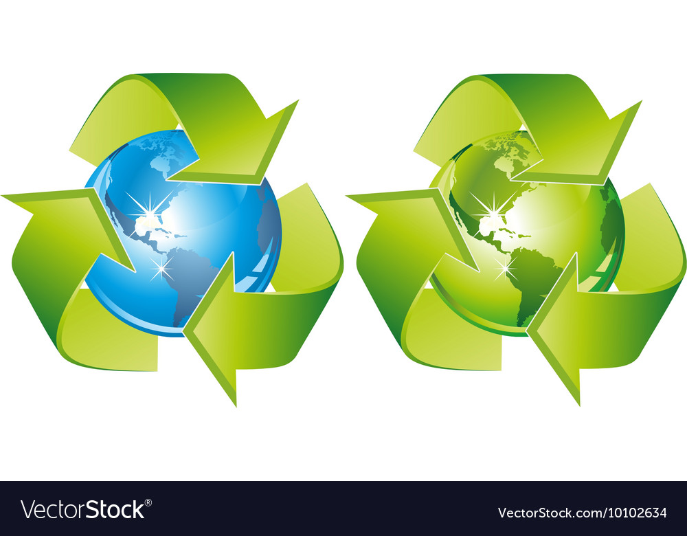 Green bluerecyclingsigns vector