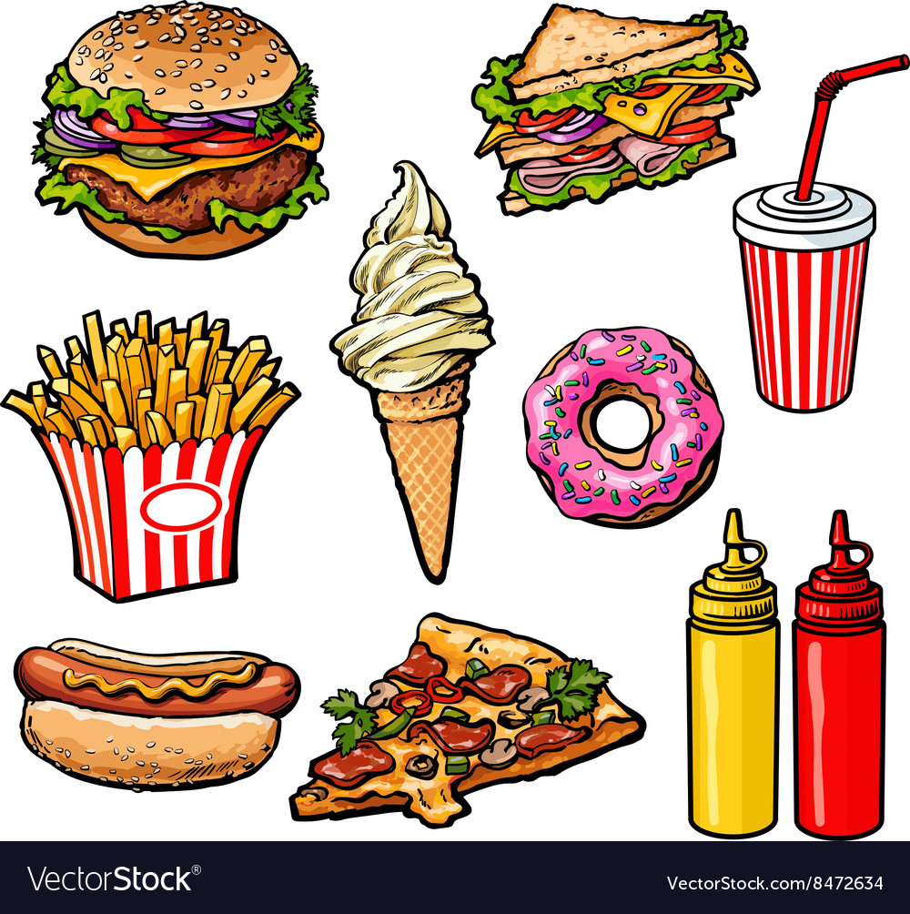 Set of various food fastfood vector