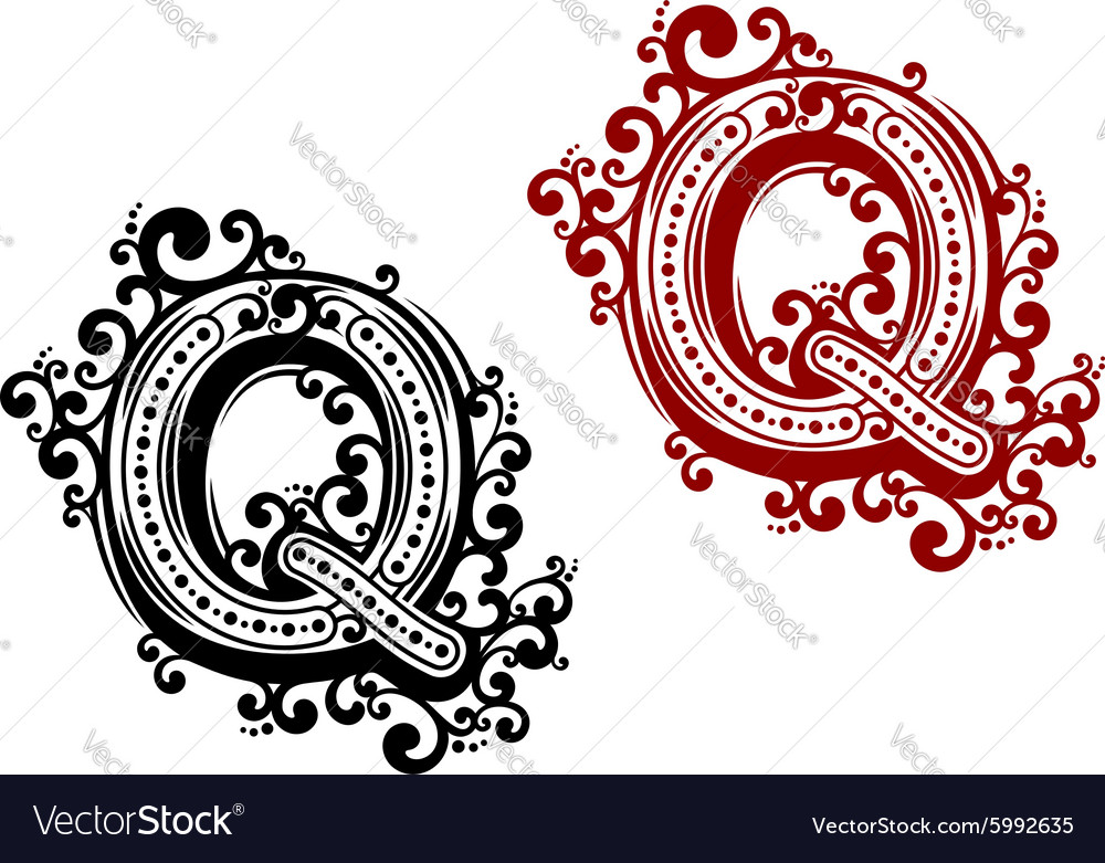 Capital letter q with decorative elements vector