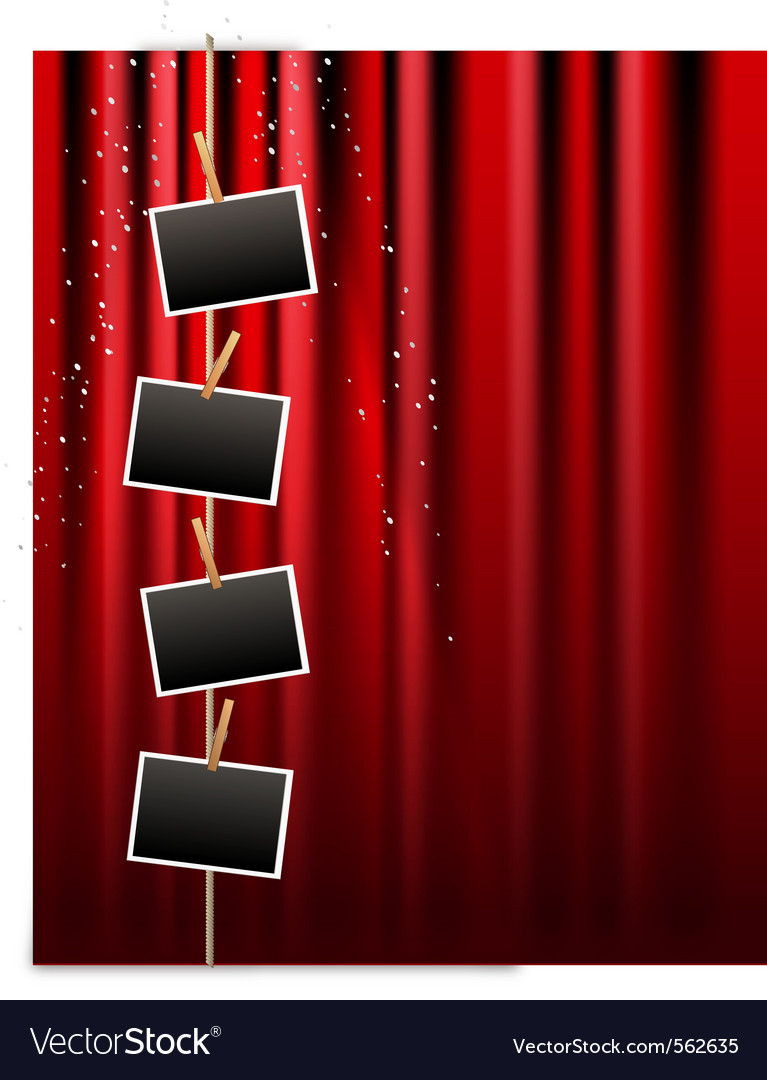 Photo frame and red curtain vector