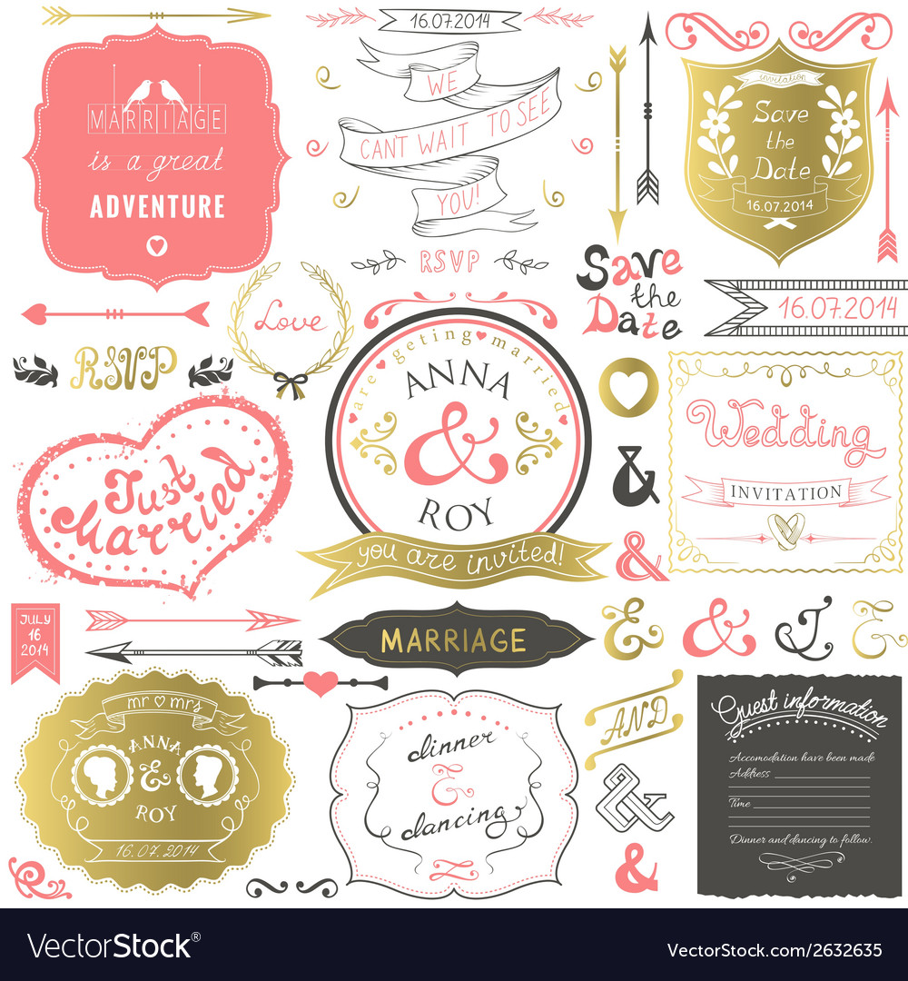 Retro hand drawn elements for wedding invitations vector