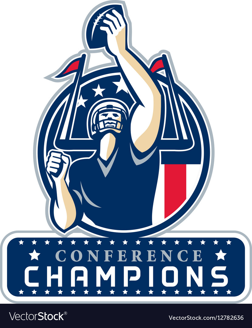Football conference champions new england retro vector