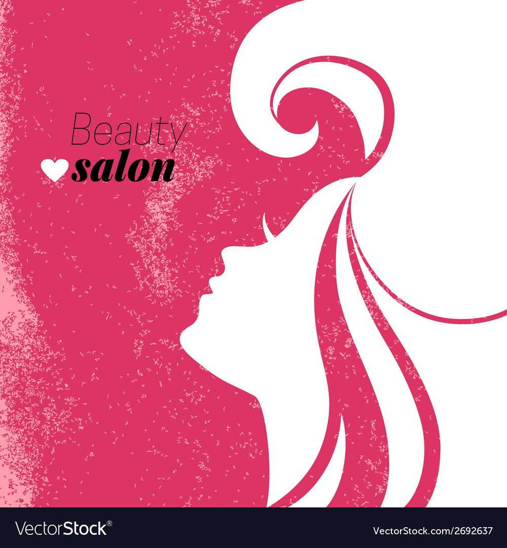 Beautiful woman silhouette beauty salon poster vector