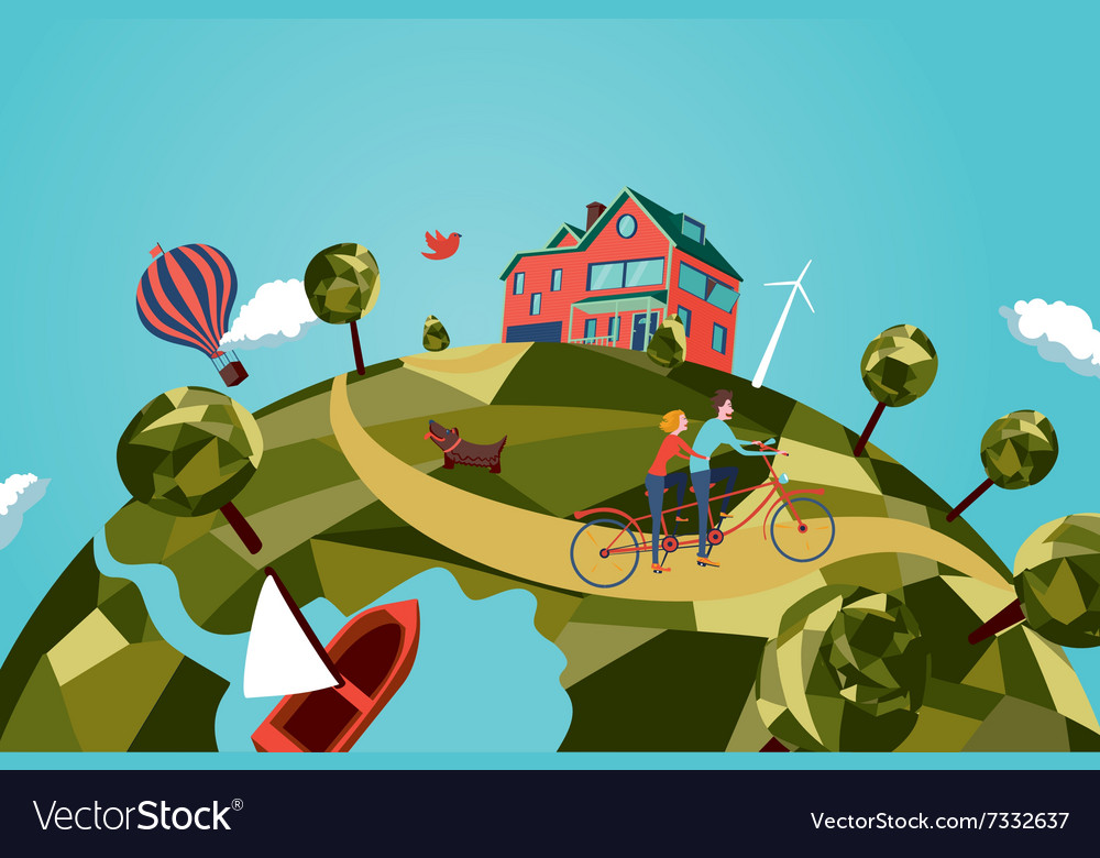 Couple on tandem bike vector