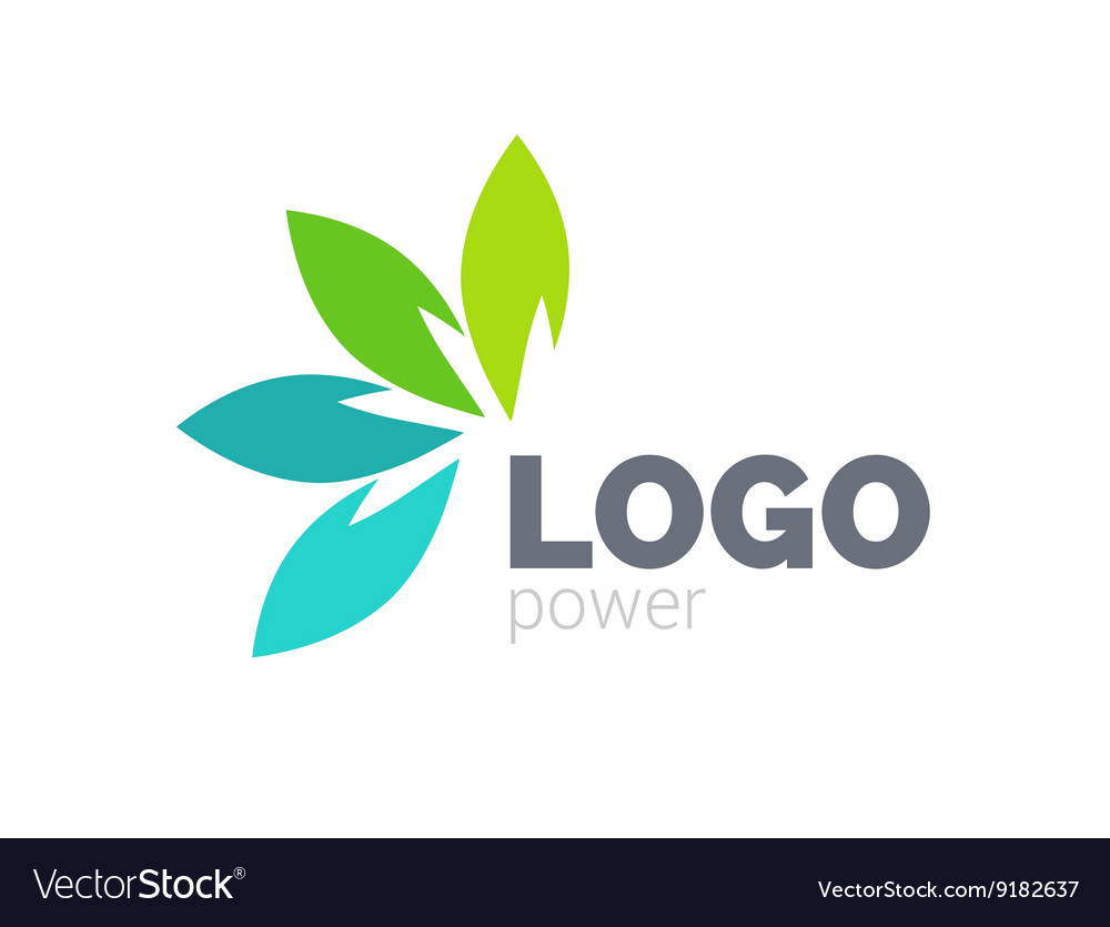 Green leaf logo design four leaves health vector