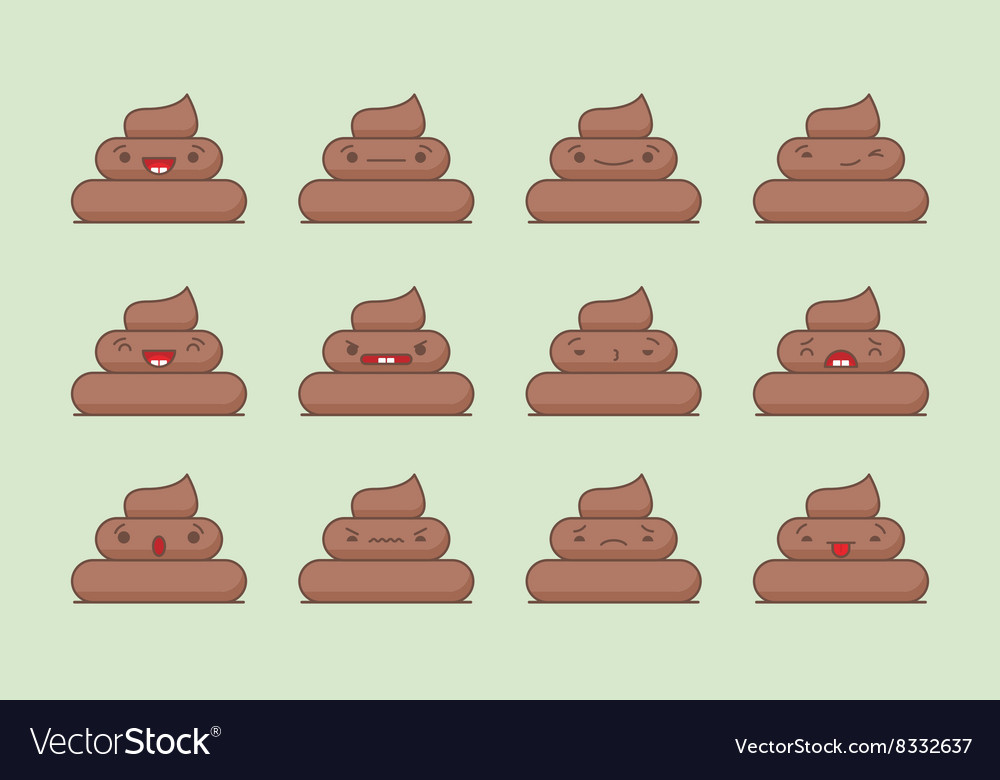 Kawaii poop emotions pack vector
