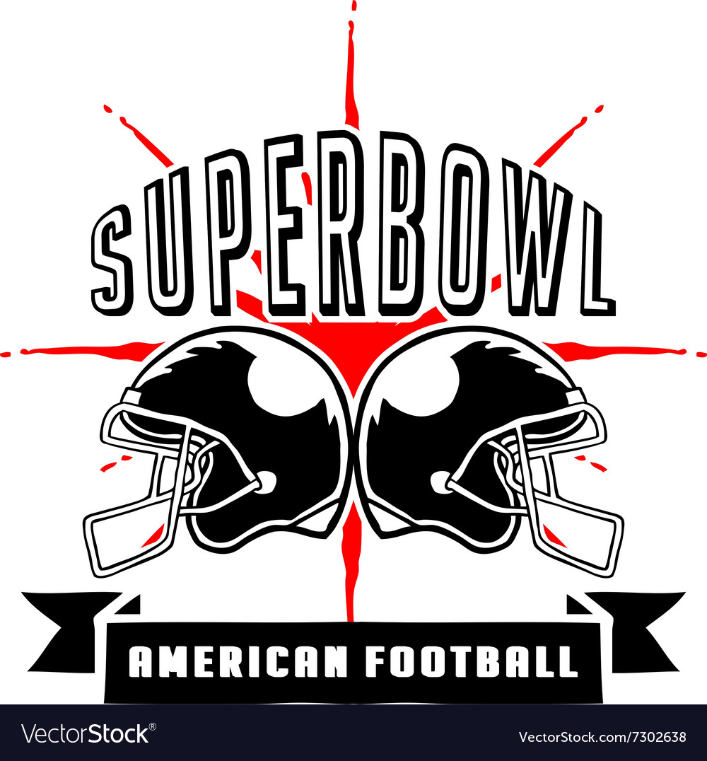 Superbowl and football badge hand draw vector