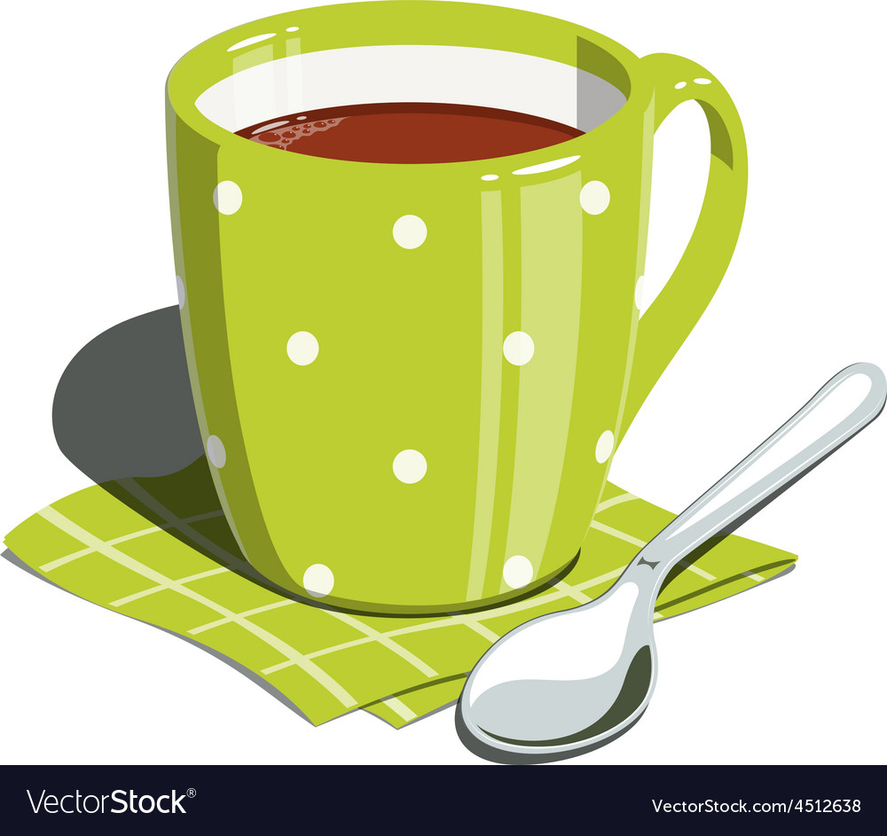 Tea cup and spoon vector