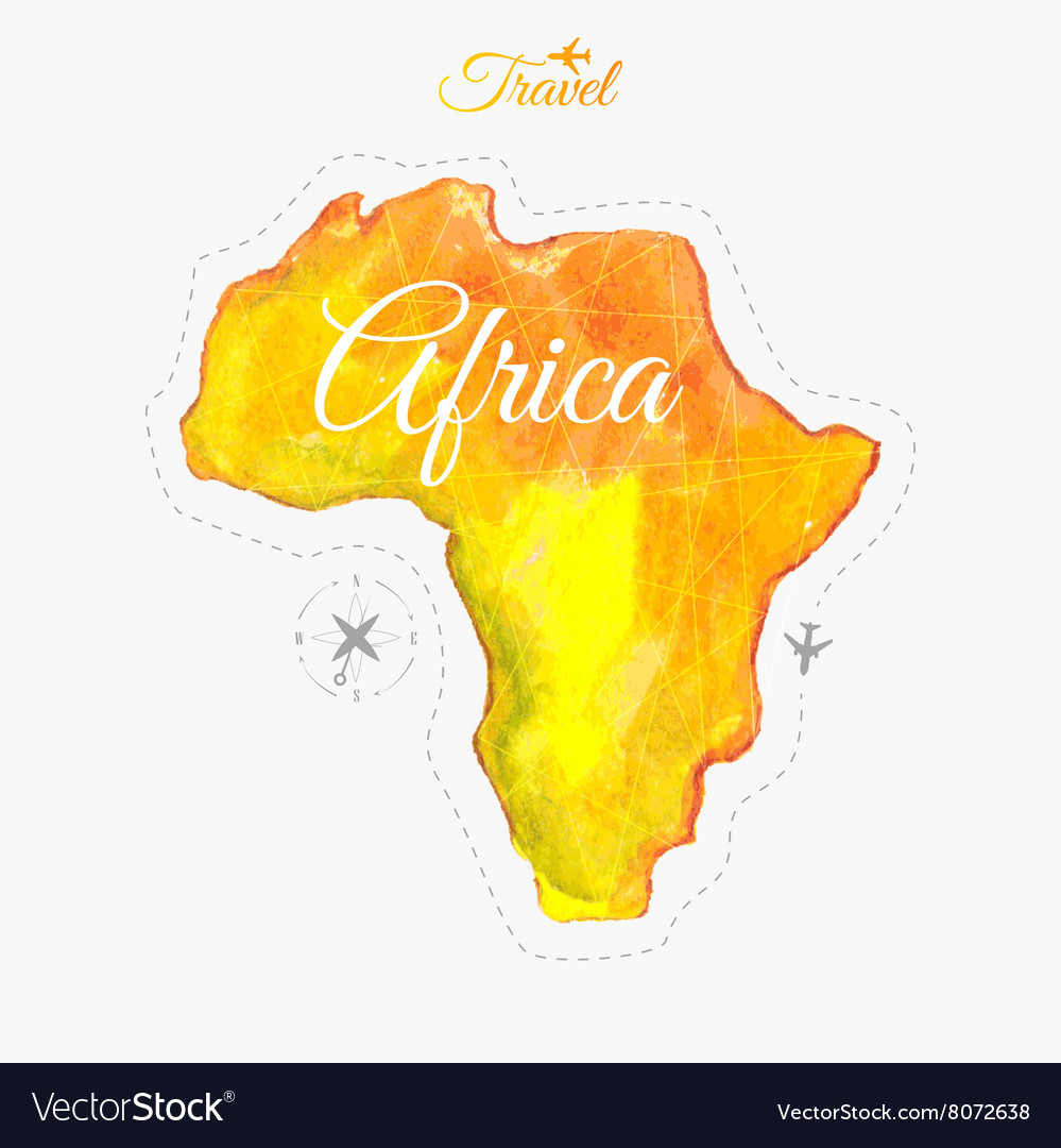 Travel around the world africa watercolor map vector