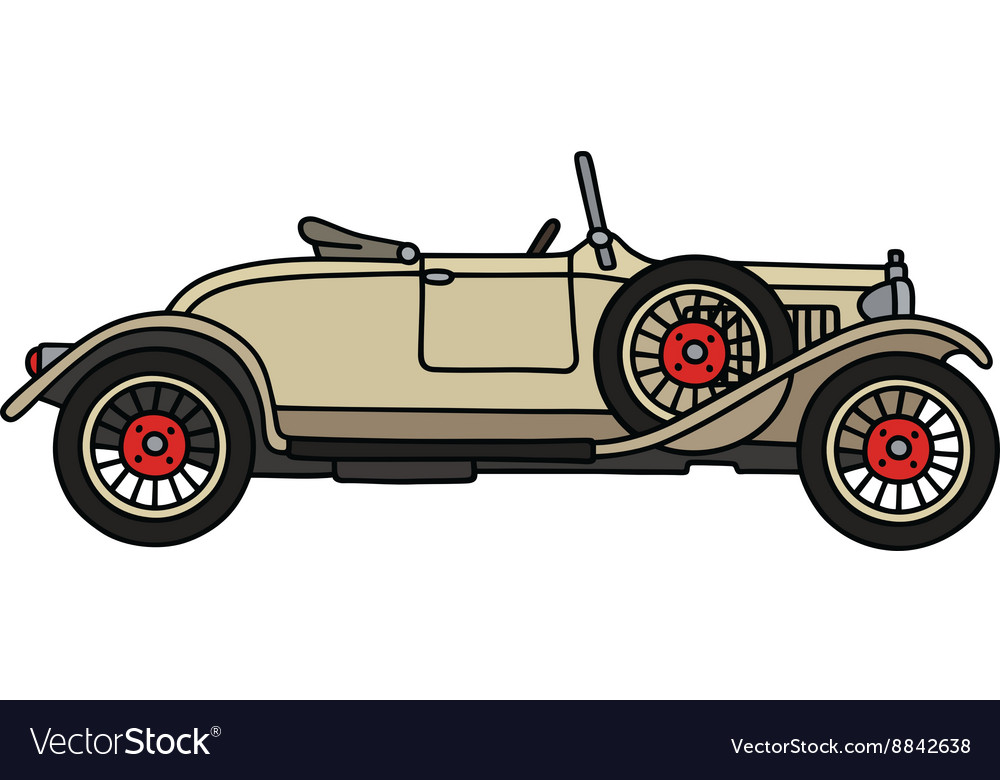 Vintage cream small cabriolet vector