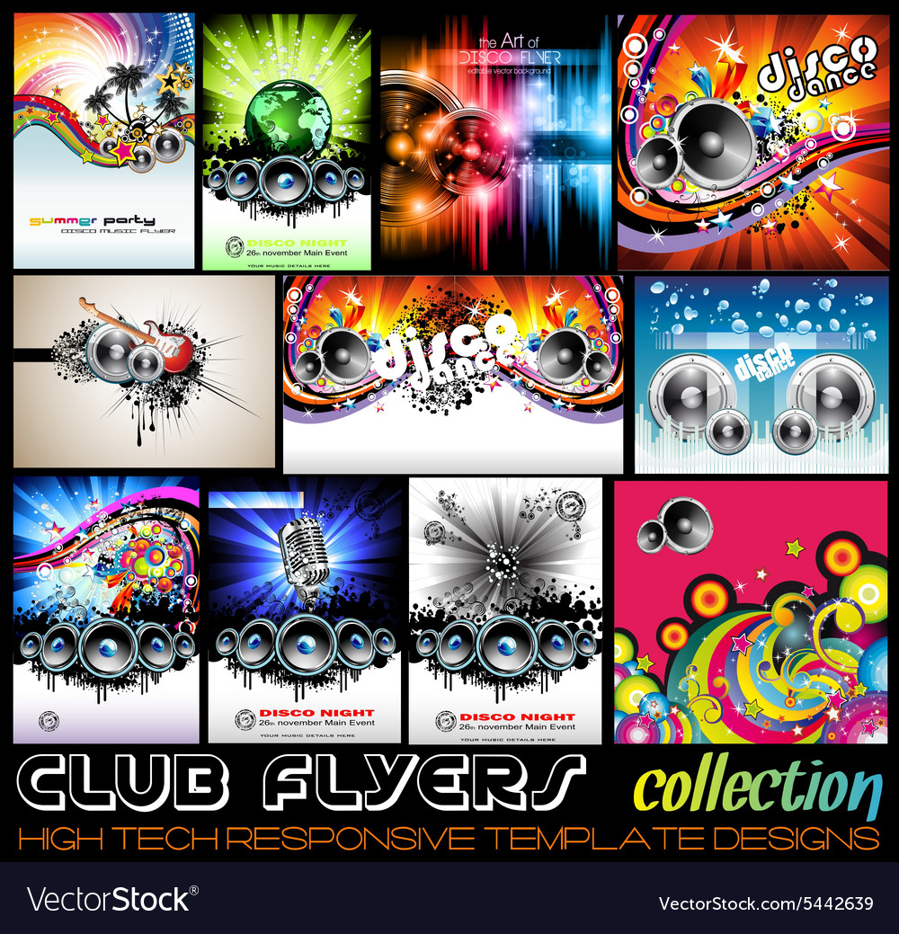 Stunnig disco club flyers collecton vector
