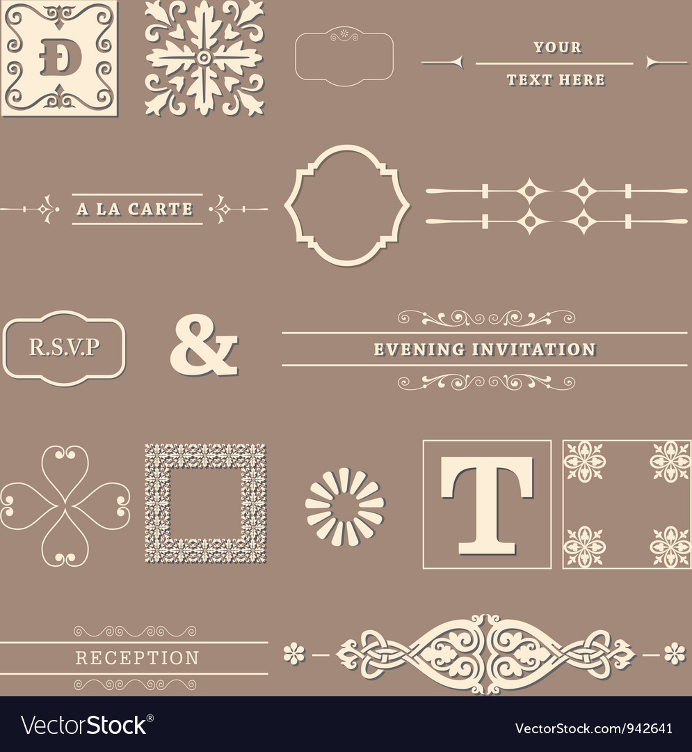 Calligraphy elements vector
