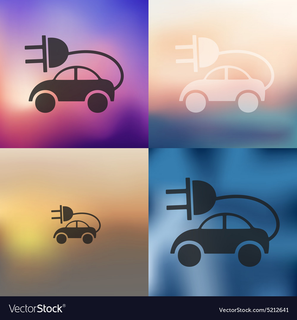 Eco car icon on blurred background vector