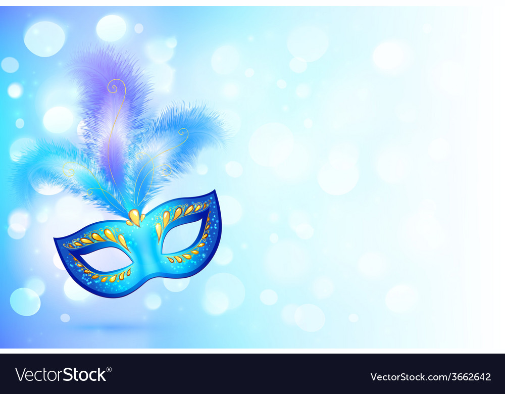 Blue carnival mask with feathers on bokeh lights vector