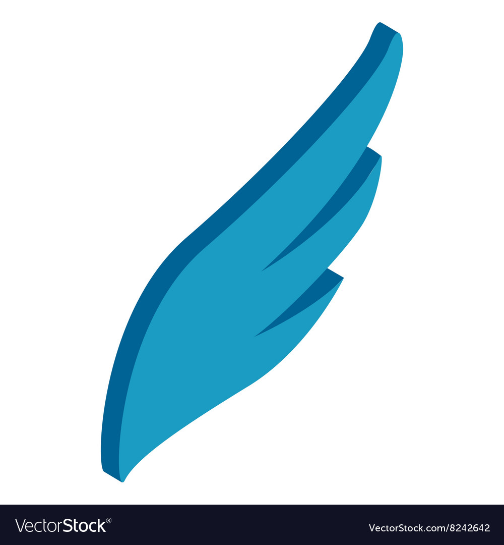 Blue simple wing icon isometric 3d style vector