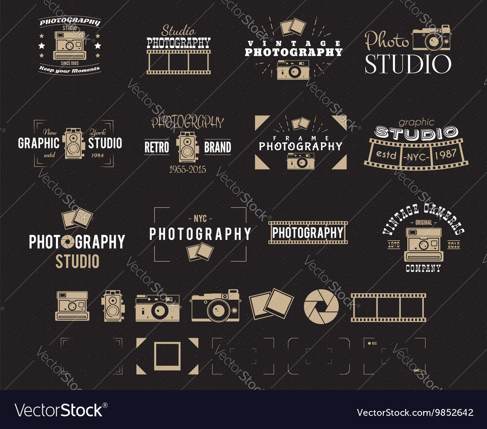 Camera logo vintage photography badges labels vector