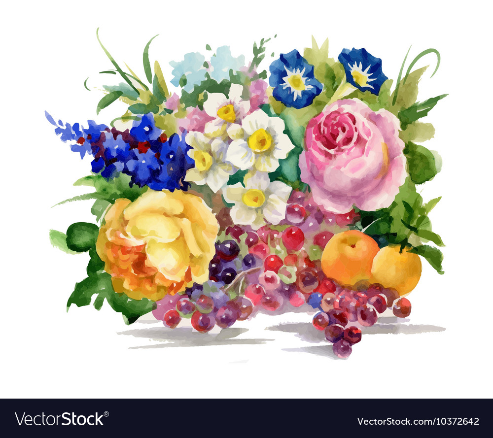 Summer flowers and ripe fruits watercolor vector