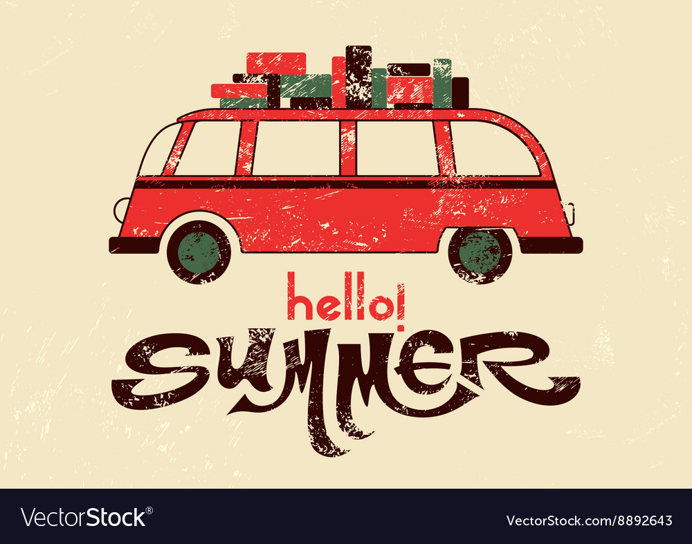 Summer typographic retro grunge poster with bus vector