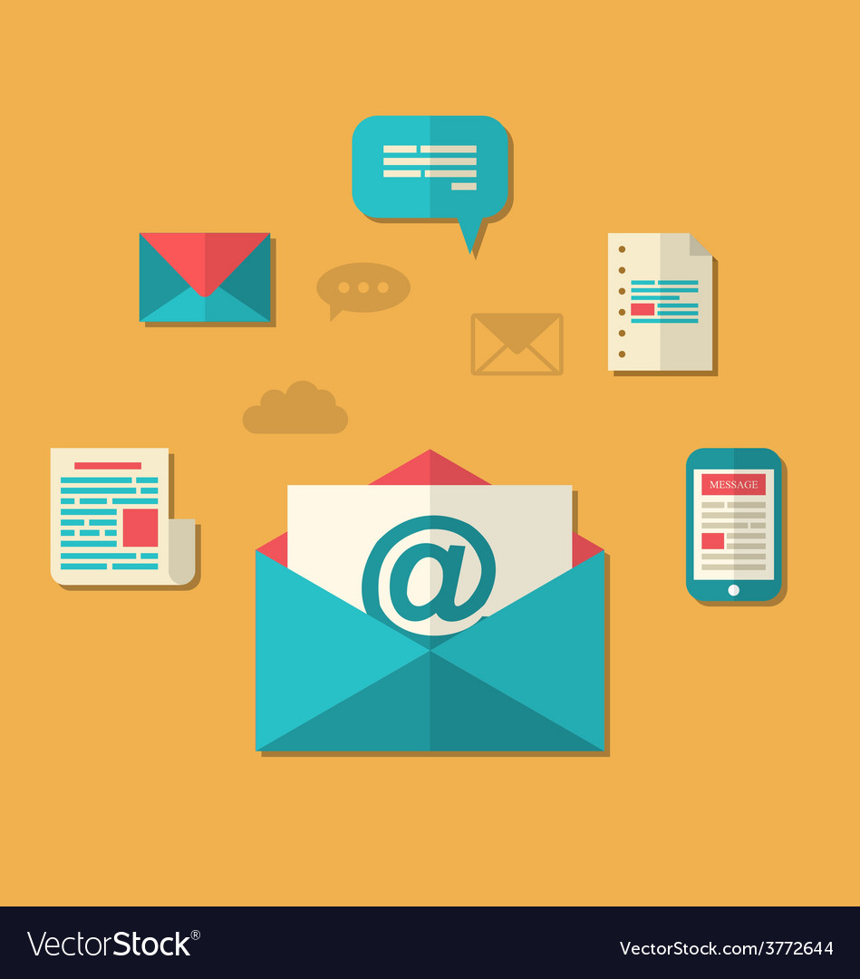 Concept of email marketing  newsletter and vector