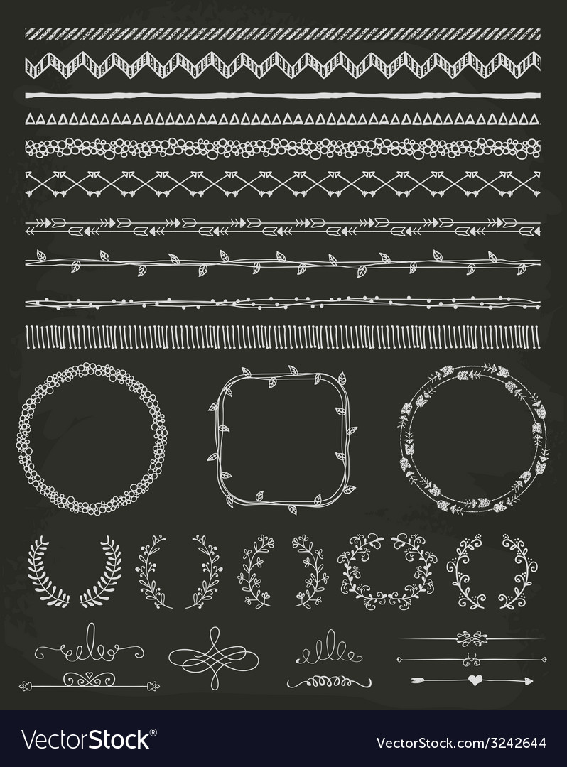 Handdrawn seamless borders and design elements vector