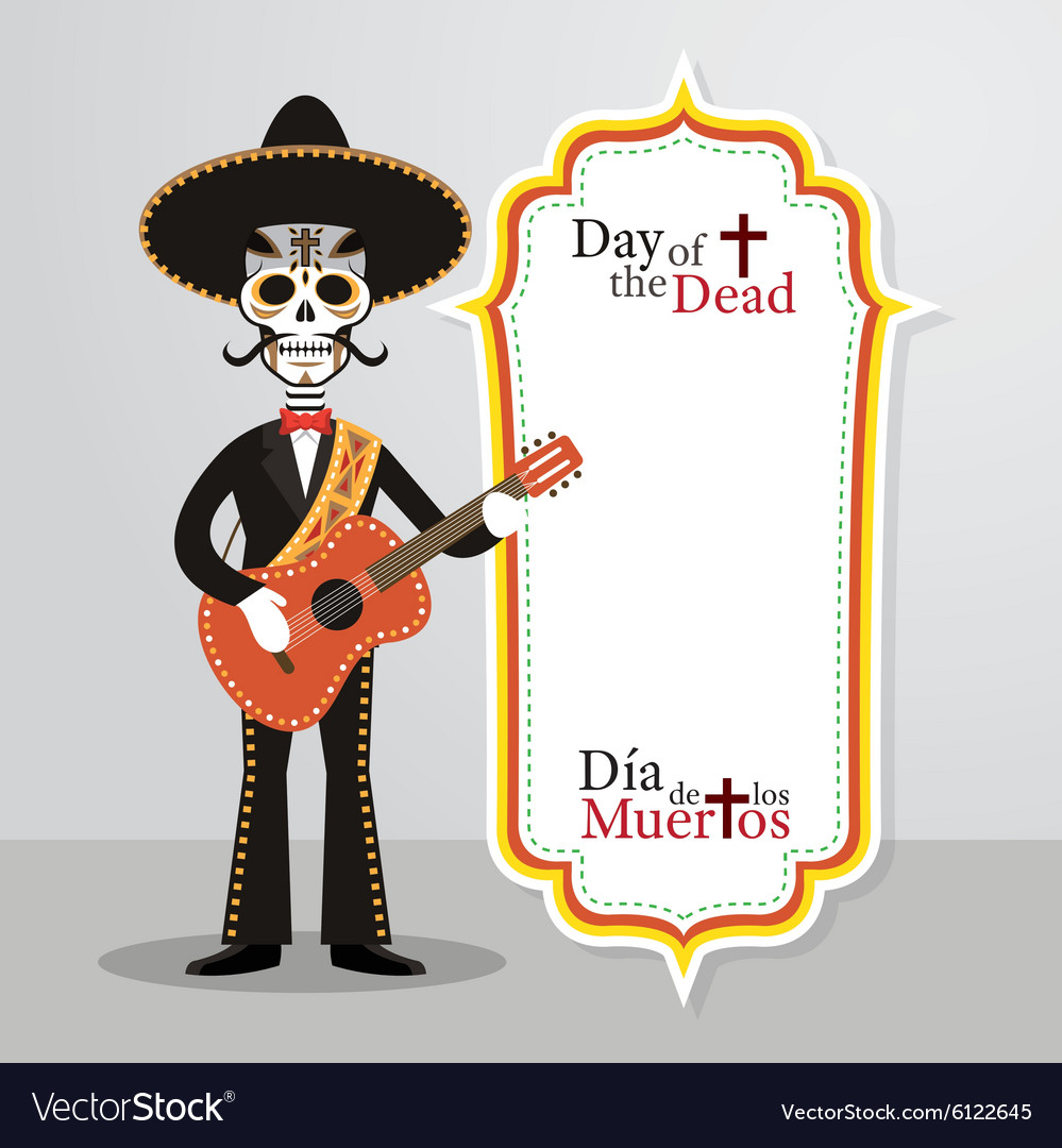 Day of the dead skull mariachi vector
