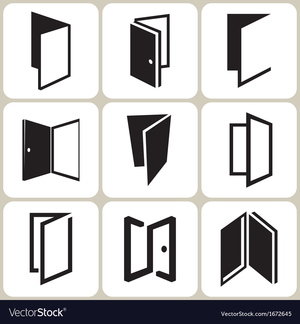 Door icons set vector