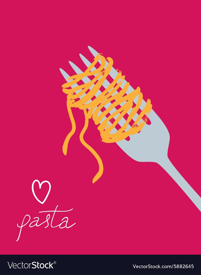 Drawn spaghetti on the fork vector