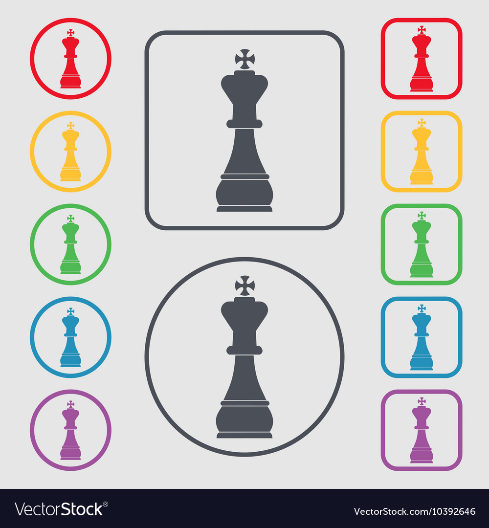 Chess king icon sign symbol on the round and vector