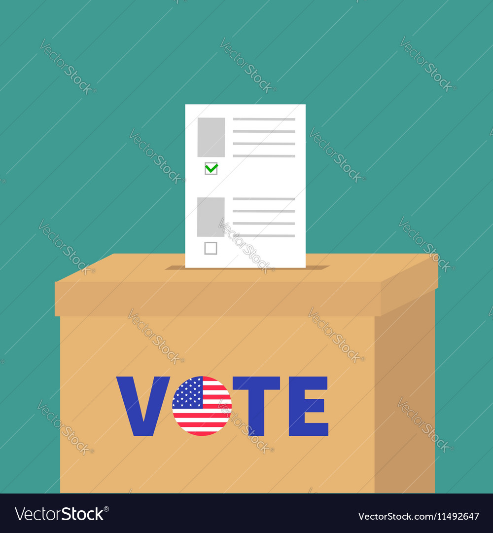 Ballot voting box with paper blank bulletin choice vector