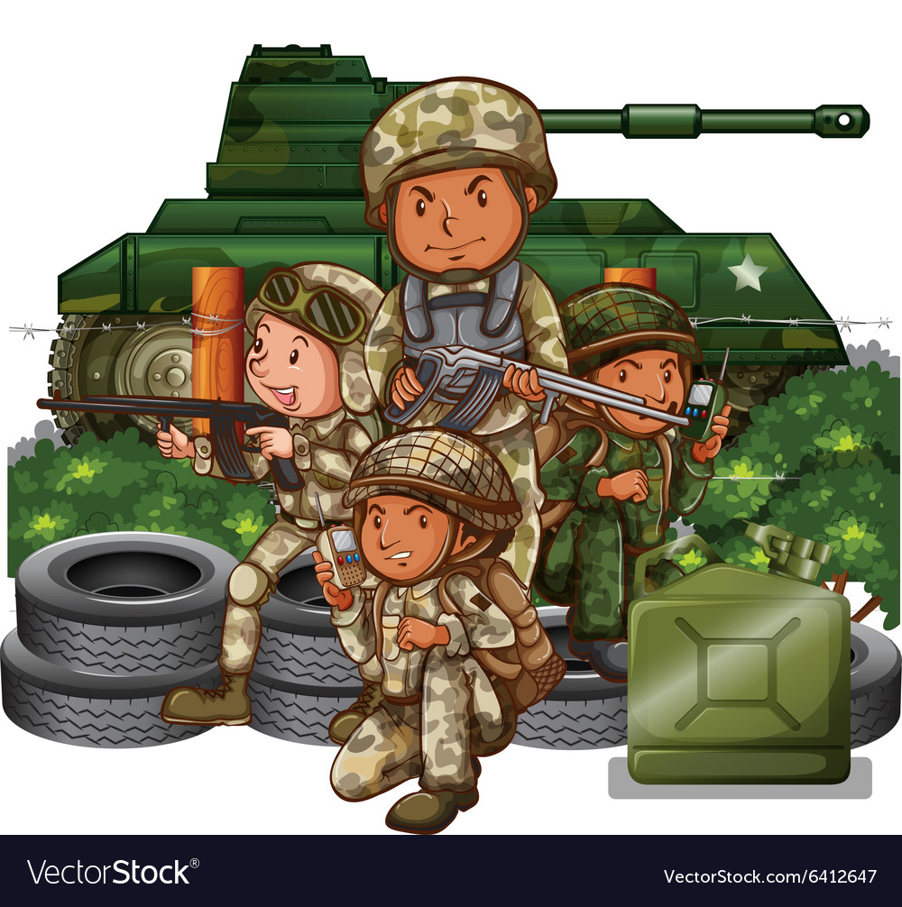 Soldiers with guns in the field vector